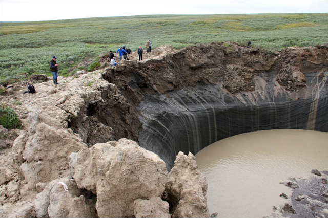 A crater left by an exploding methane bubble in northwest Siberia. Photo Siberian Times
