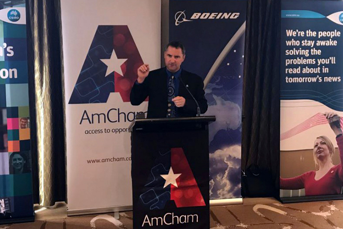 Larry Marshall speaking to an American Chamber of Commerce gathering in Sydney, 28 April 2016. PHOTO AmCham