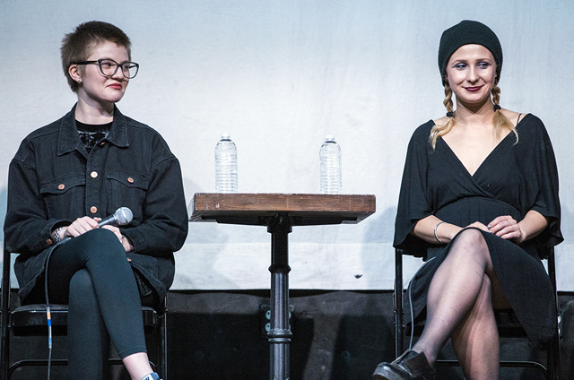Pussy Riot members Sasha Bogino (left) and co-founder Masha Alyokhina at a panel discussion in Los Angeles ahead of their visit to Australia. PHOTO Carl Pocket, Spaceland Presents