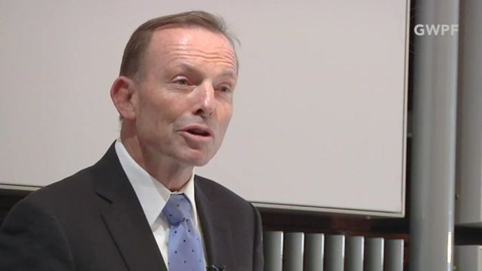 Tony Abbott addressing the Global Warming Policy Foundation in London. PHOTO ABC/GWPF