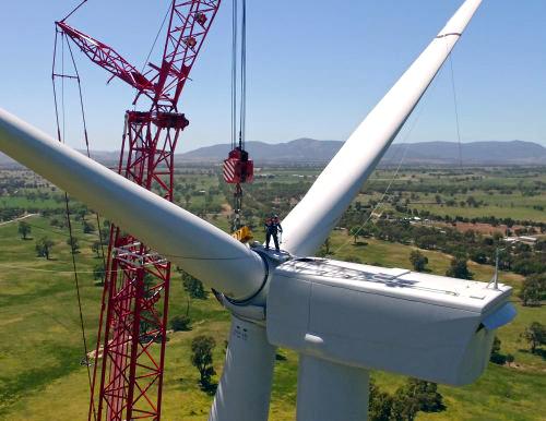 Assembling a wind turbine. PHOTO Ararat Wind Farm, Victoria