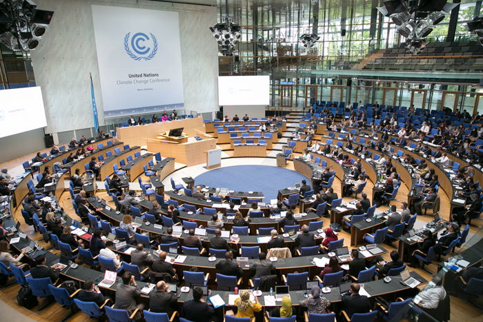 Delegates gather in the main hall at Bonn for this year's UNFCCC climate summit. PHOTO Kiara Worth, IISD/ENB