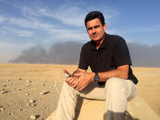ABC Middle East correspondent Matt Brown reporting from Mosul. PHOTO ABC