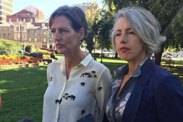 Cassy O'Connor and Rosalie Woodruff face a diminished presence in the Tasmanian parliament. PHOTO ABC News
