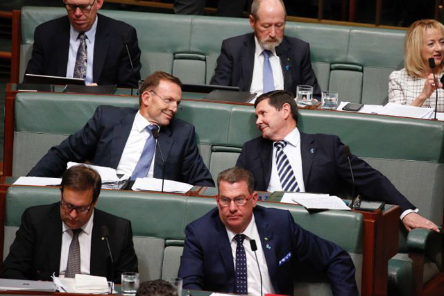 Tony Abbott shares a moment with Kevin Andrews. PHOTO ABC
