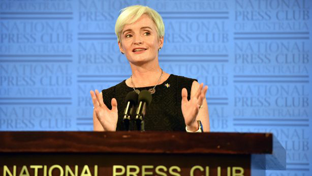 Emma Johnston addresses the National Press Club, 14 February 2018. PHOTO Science & Technology Australia