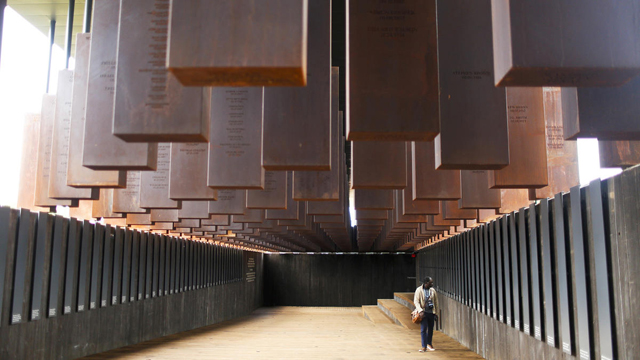 Inside the memorial to US lynching victims. PHOTO National Memorial for Peace and Justice