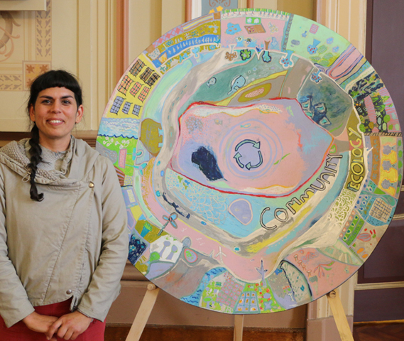 Hobart artist Selena De Carvalho with artwork produced by students at Lansdowne Crescent Primary School. PHOTO Hobart City