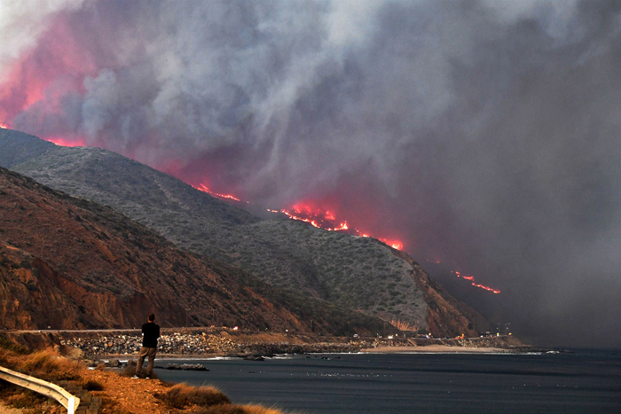 California burning: coastal fires north of Los Angeles at the weekend. PHOTO Robyn Beck / AFP - Getty Images