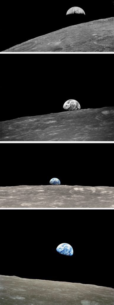 Four Earthrises (from top): Lunar Orbiter, 23 August 1966; Anders's Photo 1, Apollo 8, 24 December 1968; NASA's colour enhancement of AP1; Anders's iconic colour image, 24 December 1968. PHOTOS NASA
